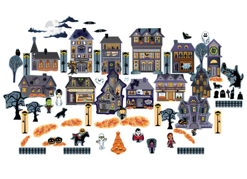 Haunted House Interactive Halloween Village Wall Art
